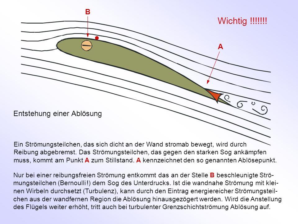 Entstehung einer Ablösung Ein Strömungsteilchen, das sich dicht an der Wand stromab bewegt, wird durch Reibung abgebremst. Das Strömungsteilchen, das