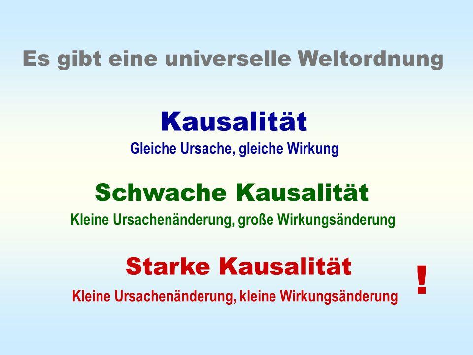 Kausalität Schwache Kausalität Starke Kausalität Es gibt eine universelle Weltordnung Gleiche Ursache, gleiche Wirkung Kleine Ursachenänderung, große