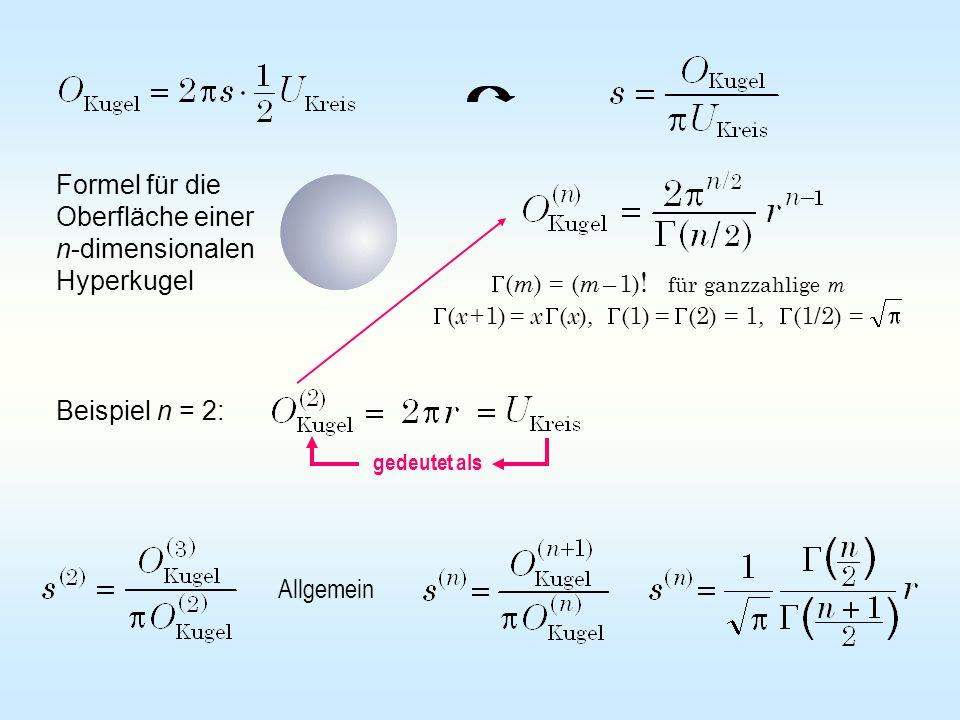 Formel für die Oberfläche einer n-dimensionalen Hyperkugel ( m ) = ( m – 1) ! für ganzzahlige m ( x +1) = x ( x ), (1) = (2) = 1, (1/2) = Beispiel n =