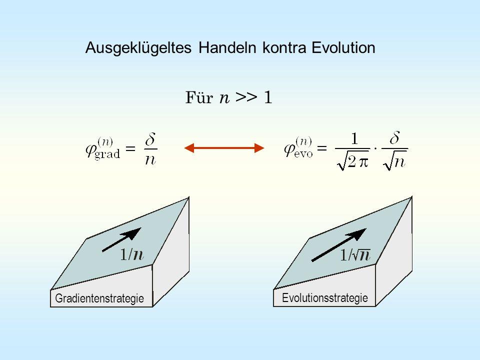 Für n >> 1 Evolutionsstrategie Gradientenstrategie Ausgeklügeltes Handeln kontra Evolution