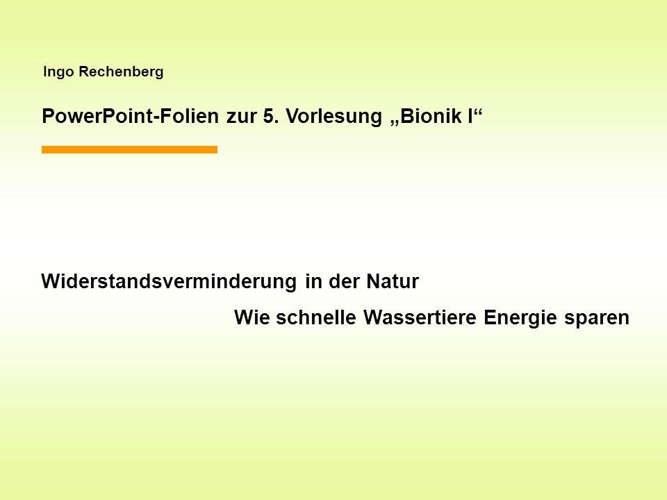 Ingo Rechenberg PowerPoint-Folien zur 5. Vorlesung Bionik I Widerstandsverminderung in der Natur Wie schnelle Wassertiere Energie sparen
