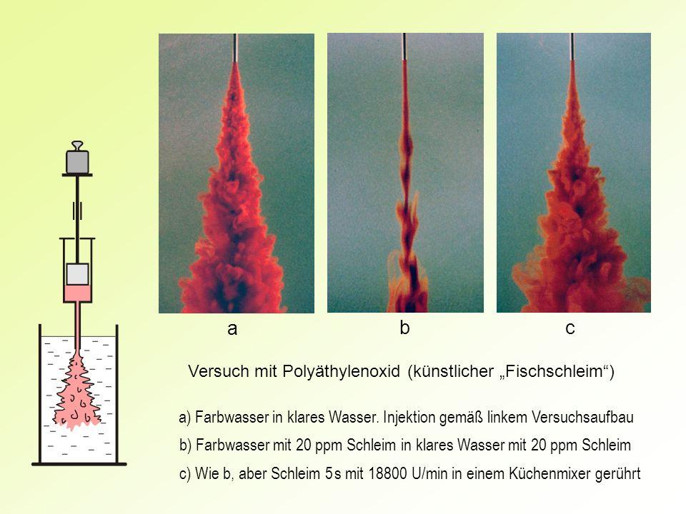 a) Farbwasser in klares Wasser. Injektion gemäß linkem Versuchsaufbau b) Farbwasser mit 20 ppm Schleim in klares Wasser mit 20 ppm Schleim c) Wie b, a