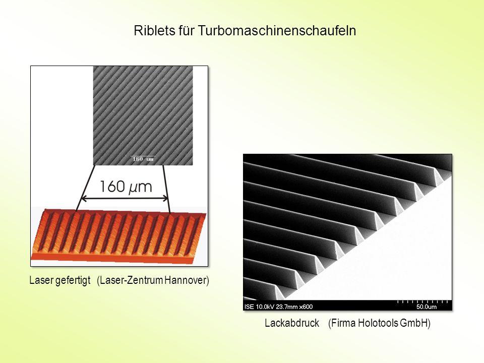 Riblets für Turbomaschinenschaufeln Laser gefertigt (Laser-Zentrum Hannover) Lackabdruck (Firma Holotools GmbH)