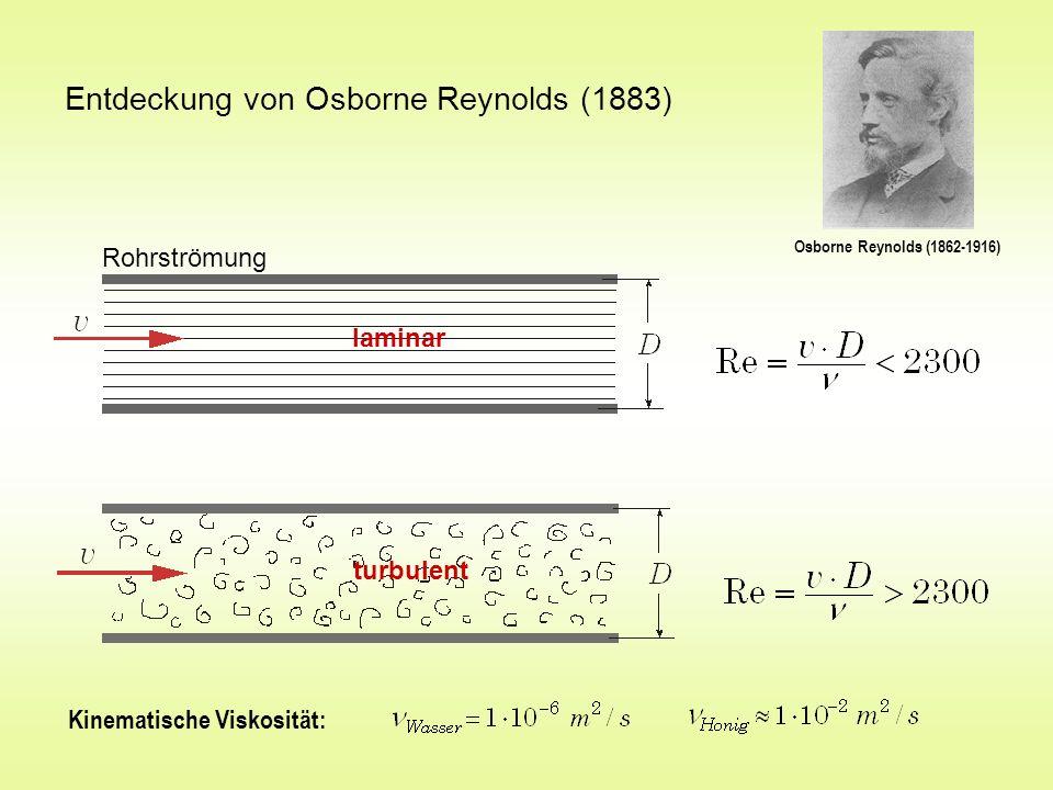 Entdeckung von Osborne Reynolds (1883) Osborne Reynolds (1862-1916) Rohrströmung laminar turbulent Kinematische Viskosität: