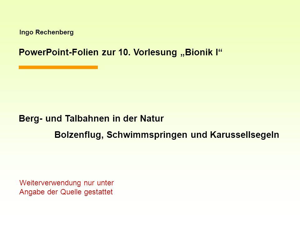 Ingo Rechenberg PowerPoint-Folien zur 10. Vorlesung Bionik I Berg- und Talbahnen in der Natur Bolzenflug, Schwimmspringen und Karussellsegeln Weiterve