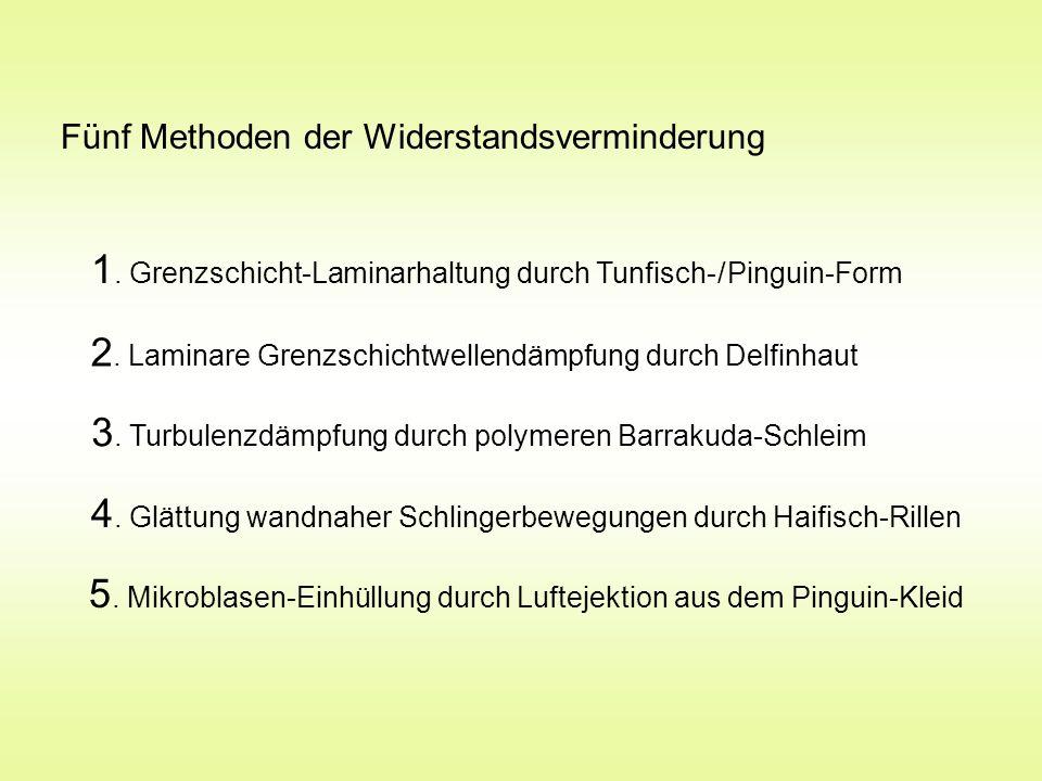 Fünf Methoden der Widerstandsverminderung 1. Grenzschicht-Laminarhaltung durch Tunfisch- / Pinguin-Form 2. Laminare Grenzschichtwellendämpfung durch D