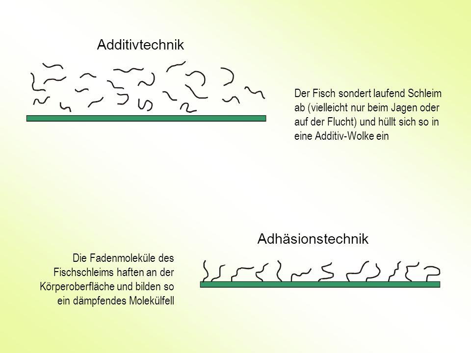 Additivtechnik Adhäsionstechnik Der Fisch sondert laufend Schleim ab (vielleicht nur beim Jagen oder auf der Flucht) und hüllt sich so in eine Additiv
