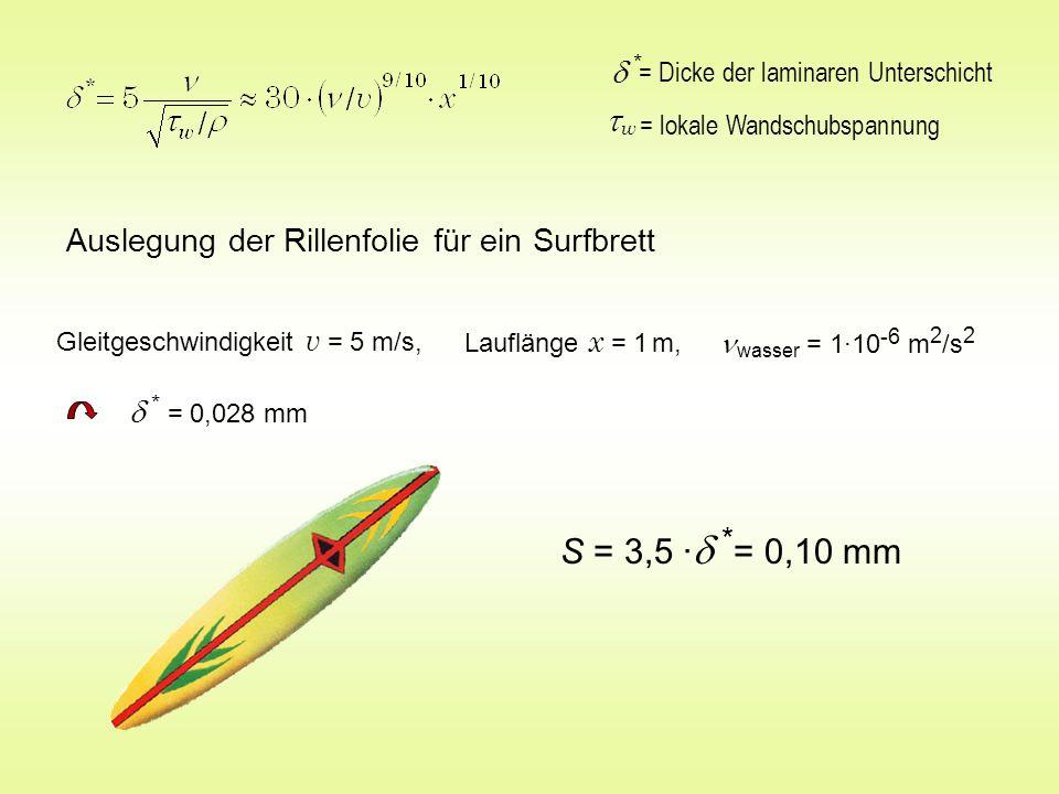 = lokale Wandschubspannung w = Dicke der laminaren Unterschicht * Auslegung der Rillenfolie für ein Surfbrett Gleitgeschwindigkeit v = 5 m/s, * = 0,02