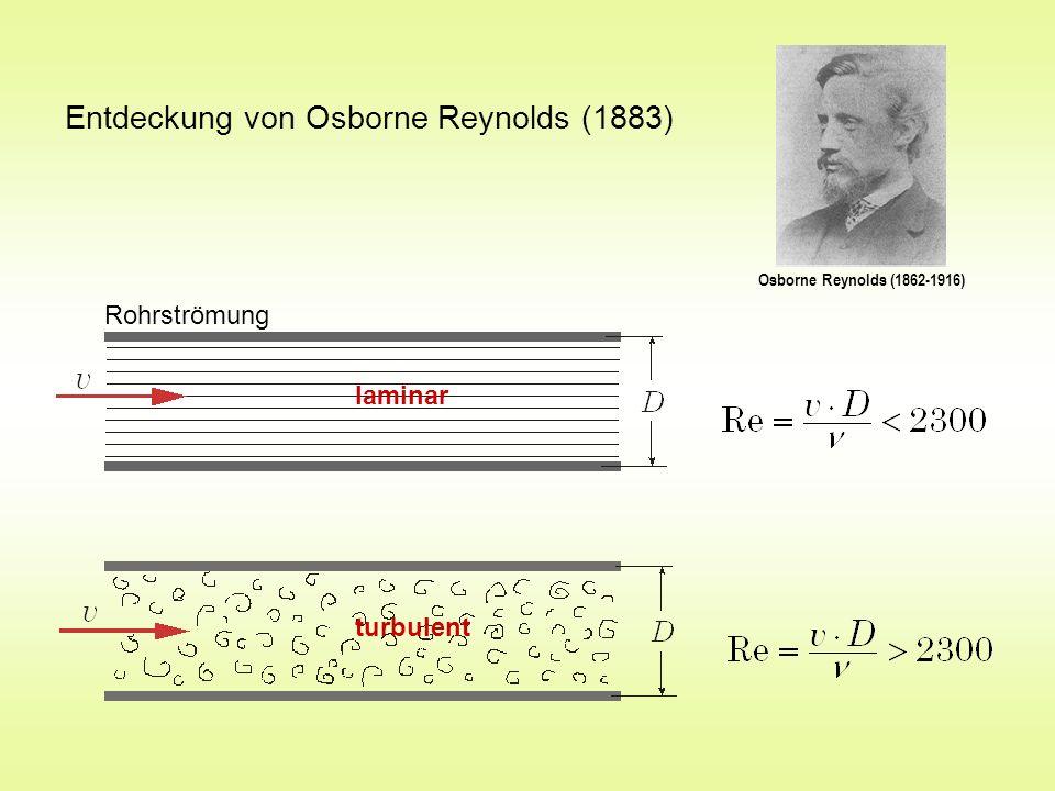 Entdeckung von Osborne Reynolds (1883) Osborne Reynolds (1862-1916) Rohrströmung laminar turbulent