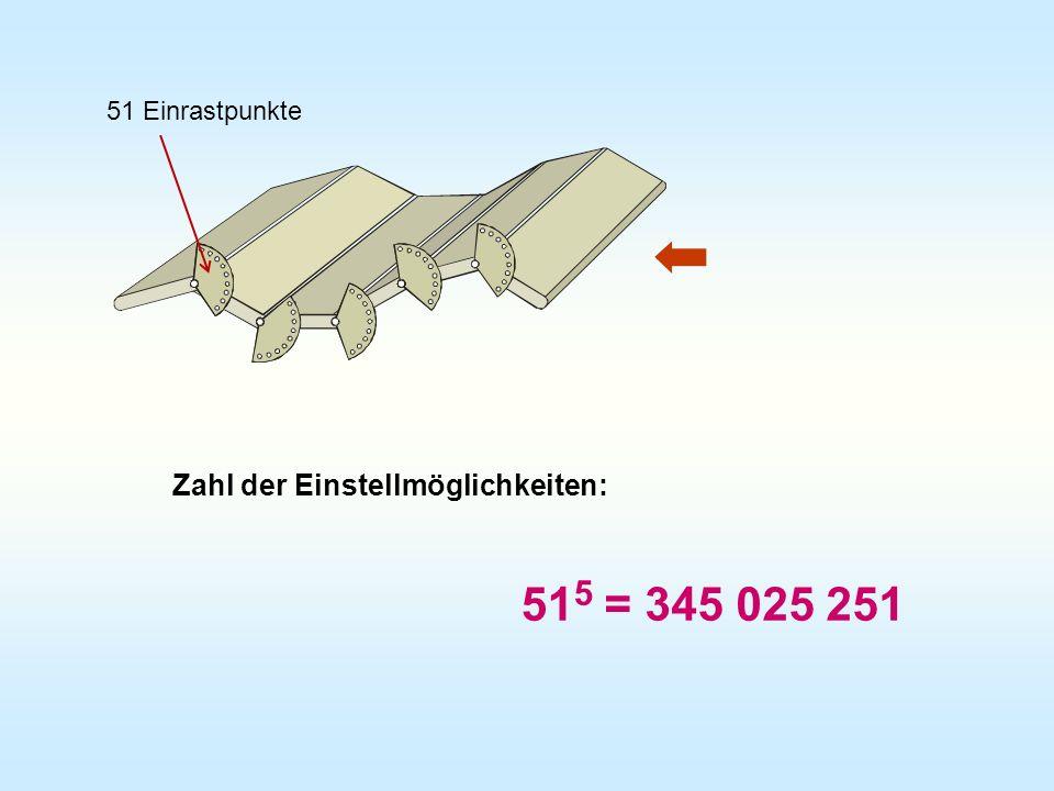 Zahl der Einstellmöglichkeiten: 51 5 = 345 025 251 51 Einrastpunkte