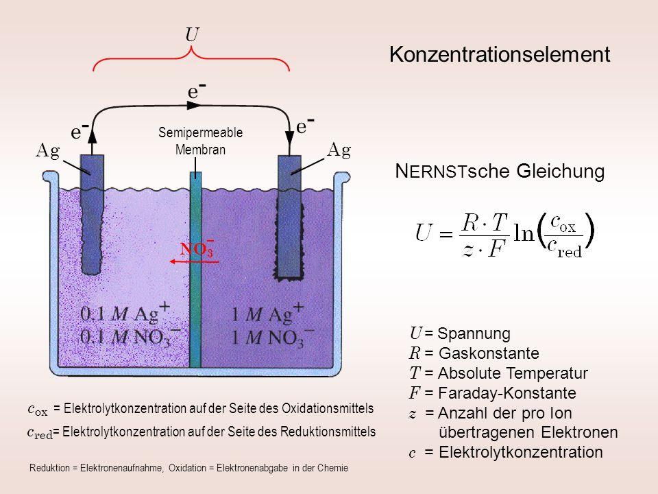 Konzentrationselement N ERNST sche Gleichung Semipermeable Membran A gA g A gA g e-e- e-e- e-e- U = Spannung R = Gaskonstante T = Absolute Temperatur F = Faraday-Konstante z = Anzahl der pro Ion übertragenen Elektronen c = Elektrolytkonzentration U NO 3 c ox = Elektrolytkonzentration auf der Seite des Oxidationsmittels c red = Elektrolytkonzentration auf der Seite des Reduktionsmittels Reduktion = Elektronenaufnahme, Oxidation = Elektronenabgabe in der Chemie