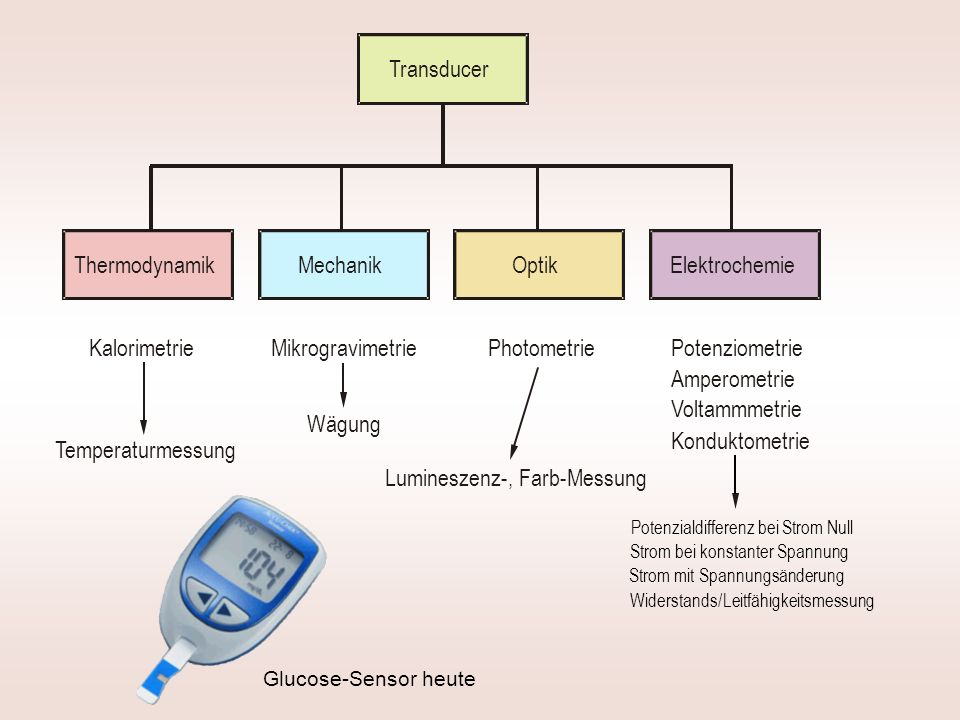 Glucose-Sensor heute Thermodynamik MikrogravimetriePhotometrie Elektrochemie Transducer Kalorimetrie Mechanik Optik Potenziometrie Amperometrie Konduktometrie Temperaturmessung Wägung Lumineszenz-, Farb-Messung Voltammmetrie Potenzialdifferenz bei Strom Null Strom bei konstanter Spannung Strom mit Spannungsänderung Widerstands/ Leitfähigkeitsmessung