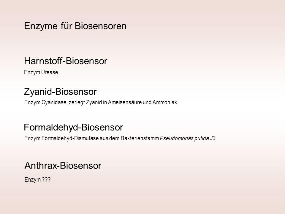 Zyanid-Biosensor Formaldehyd-Biosensor Enzym Formaldehyd-Dismutase aus dem Bakterienstamm Pseudomonas putida J3 Anthrax-Biosensor Harnstoff-Biosensor Enzym Urease Enzym Cyanidase, zerlegt Zyanid in Ameisensäure und Ammoniak Enzym ??.