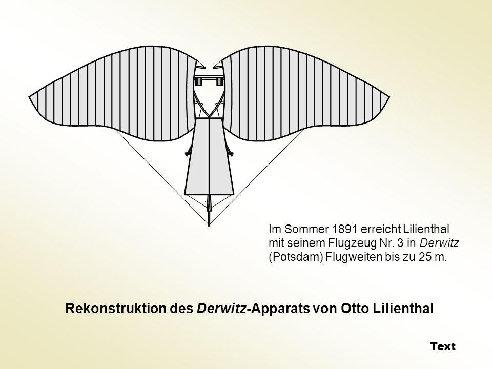 Rekonstruktion des Derwitz-Apparats von Otto Lilienthal Im Sommer 1891 erreicht Lilienthal mit seinem Flugzeug Nr. 3 in Derwitz (Potsdam) Flugweiten b