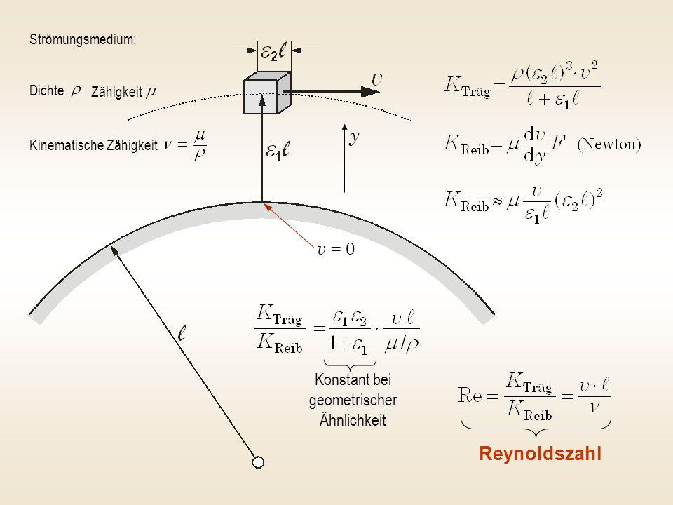 Konstant bei geometrischer Ähnlichkeit Reynoldszahl Strömungsmedium: Dichte Zähigkeit Kinematische Zähigkeit y v = 0