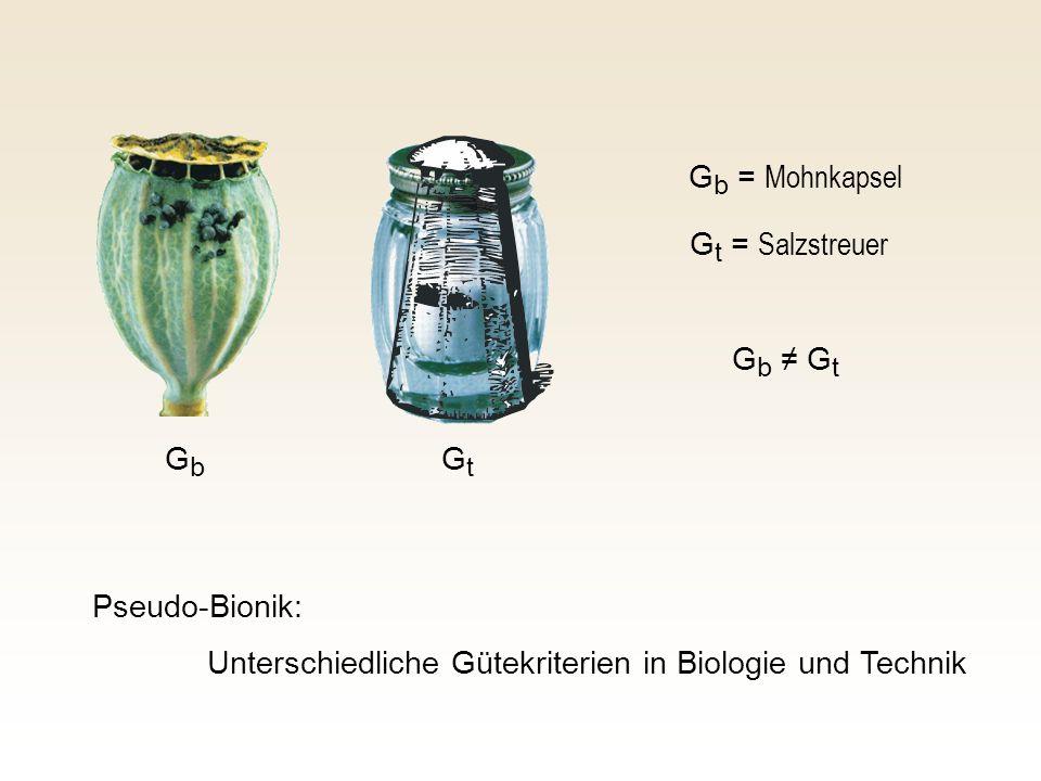 G b = Mohnkapsel G t = Salzstreuer Pseudo-Bionik: Unterschiedliche Gütekriterien in Biologie und Technik GbGb GtGt G b G t