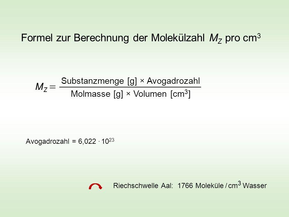 Formel zur Berechnung der Molekülzahl M Z pro cm 3 M Z Substanzmenge [g] × Avogadrozahl Molmasse [g] × Volumen [cm 3 ] Avogadrozahl = 6,022 · 10 23 Ri