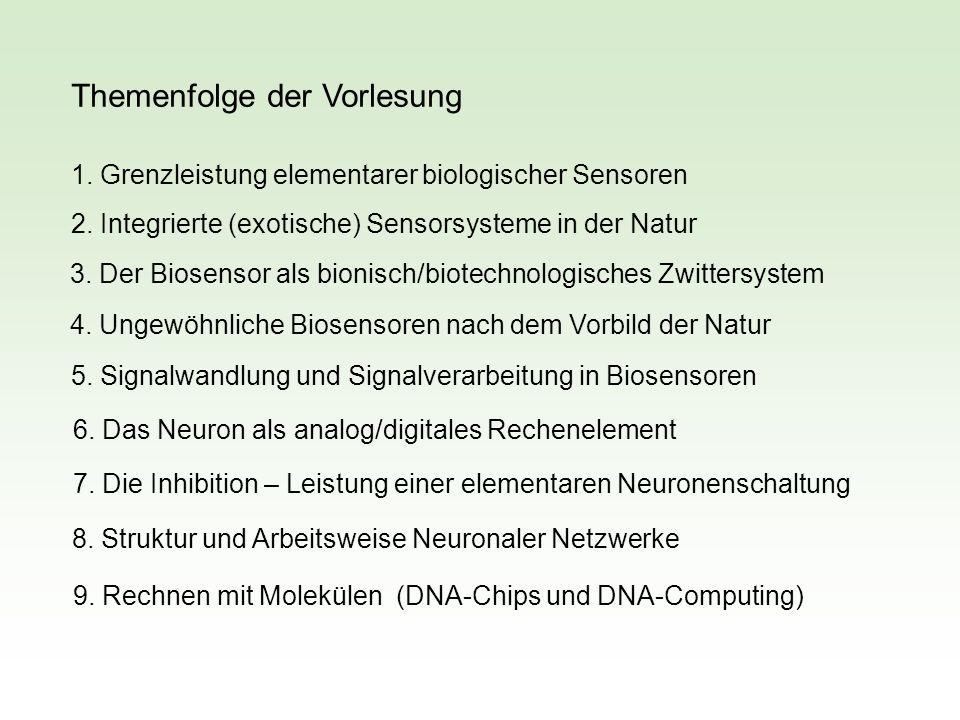 Themenfolge der Vorlesung 1. Grenzleistung elementarer biologischer Sensoren 2. Integrierte (exotische) Sensorsysteme in der Natur 3. Der Biosensor al