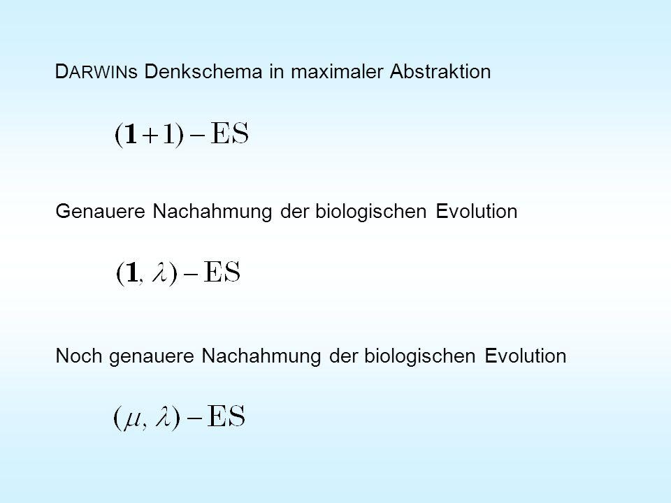 a Für q << r darf a auf x 1 projiziert werden Mutation der Variablen x 2 bis x n Der bis auf x 1 mutierte Nachkomme erleidet den Rückschritt a und Division durch (Schwerpunkt.) q a a Durch Addition der normalverteilten Eltern (Additionstheorem !) Linien Fortschritt Alle bis auf x 1 mutierten Nach- kommen erleiden den Rück- schritt a und damit auch die µ besten (neue Eltern)