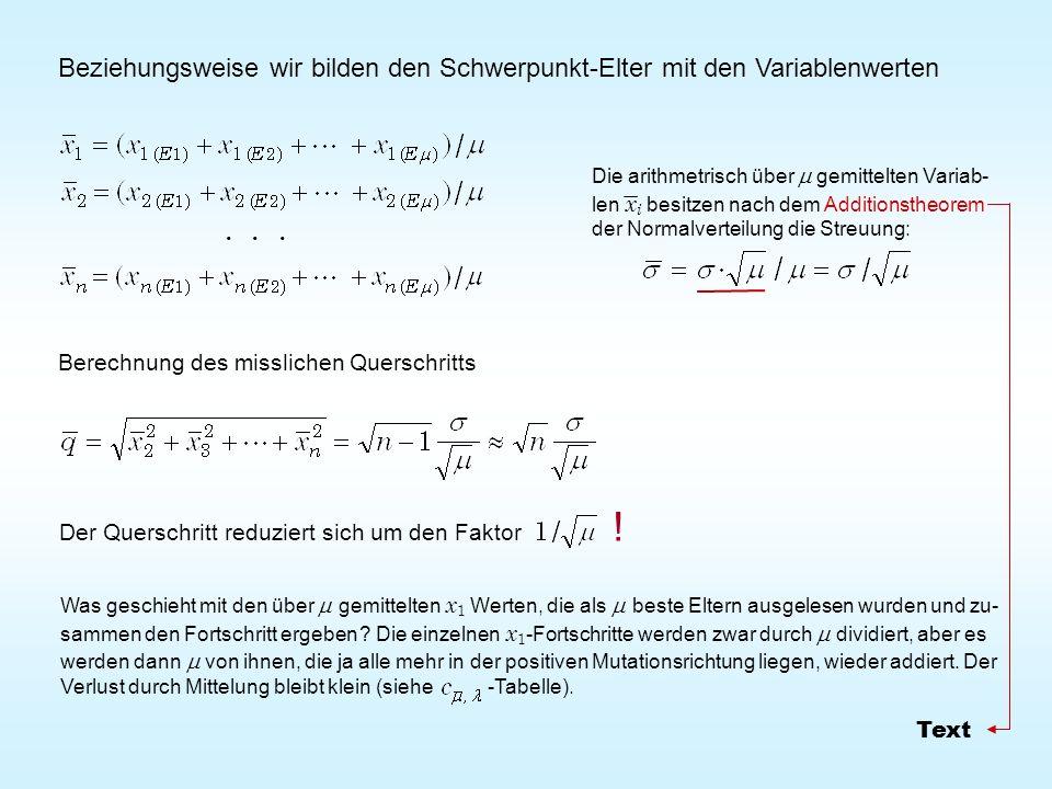 Beziehungsweise wir bilden den Schwerpunkt-Elter mit den Variablenwerten Der Querschritt reduziert sich um den Faktor !... Berechnung des misslichen Q