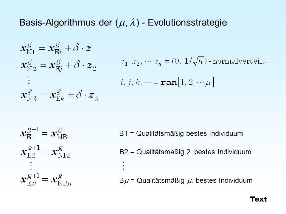 Basis-Algorithmus der (, ) - Evolutionsstrategie B1 = Qualitätsmäßig bestes Individuum B2 = Qualitätsmäßig 2. bestes Individuum B = Qualitätsmäßig. be