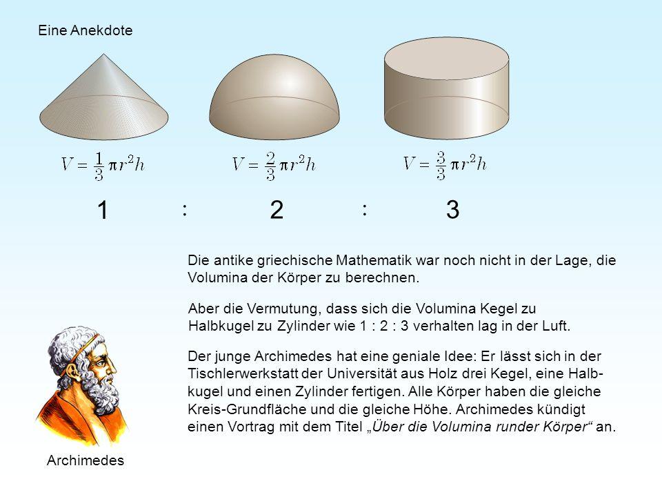 1 2 3 : : Der junge Archimedes hat eine geniale Idee: Er lässt sich in der Tischlerwerkstatt der Universität aus Holz drei Kegel, eine Halb- kugel und