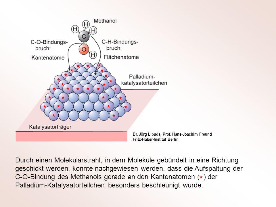 Durch einen Molekularstrahl, in dem Moleküle gebündelt in eine Richtung geschickt werden, konnte nachgewiesen werden, dass die Aufspaltung der C-O-Bin