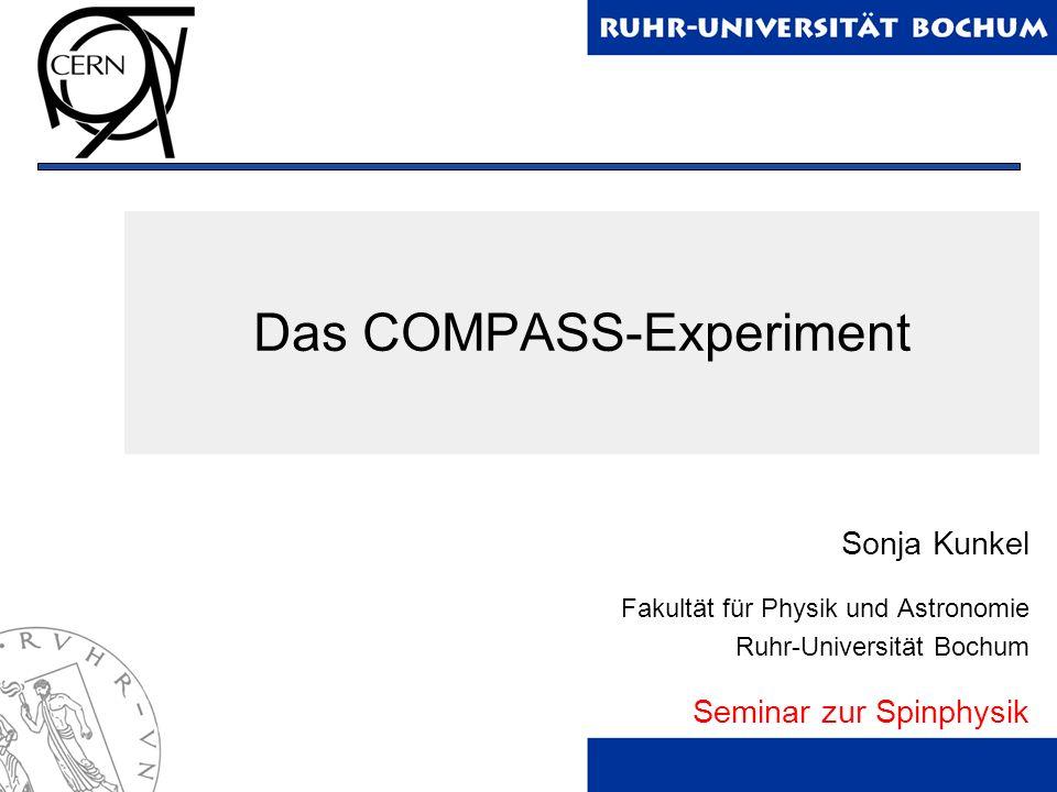 2 Gliederung 1.Grundlagen des COMPASS Experiments 2.Strahlführung 3.Polarisiertes Target 4.Dilutionkryostat 5.Detektion und Identifikation von Teilchen