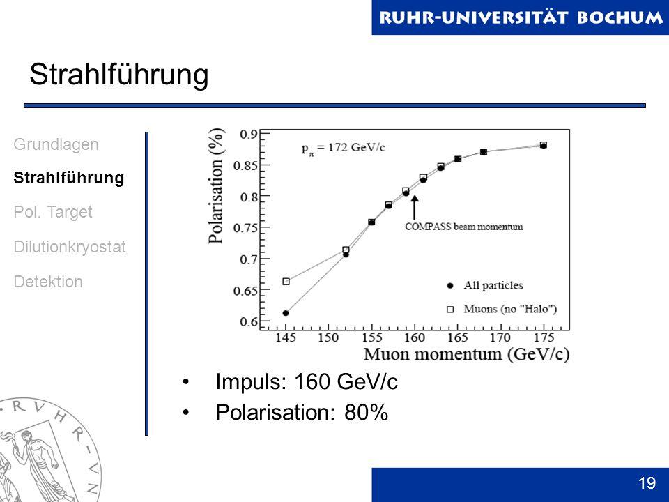 19 Strahlführung Impuls: 160 GeV/c Polarisation: 80% Grundlagen Strahlführung Pol. Target Dilutionkryostat Detektion