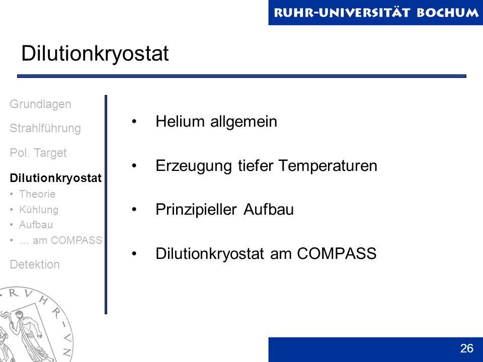 26 Dilutionkryostat Helium allgemein Erzeugung tiefer Temperaturen Prinzipieller Aufbau Dilutionkryostat am COMPASS Grundlagen Strahlführung Pol. Targ