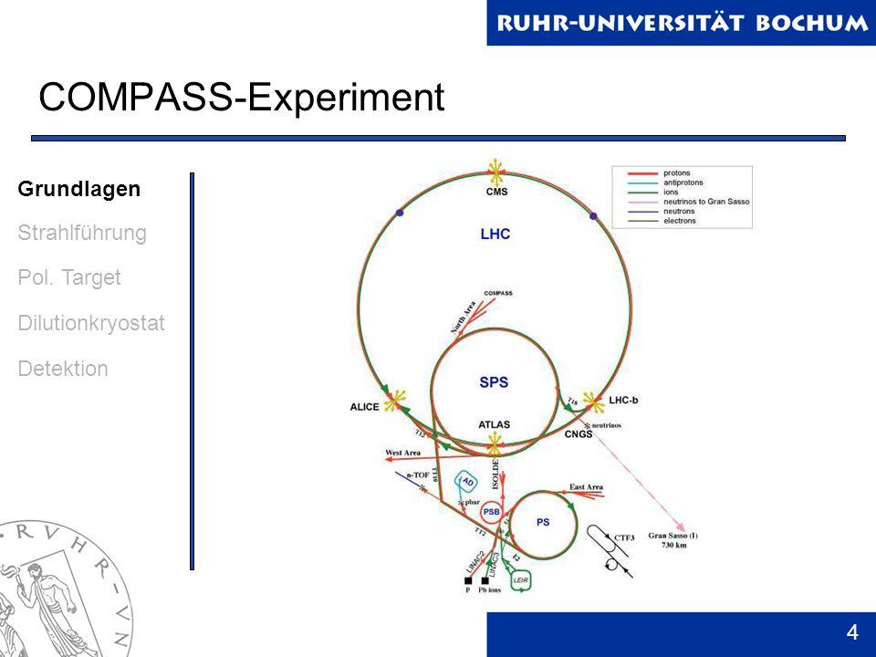 5 Myonenprogramm Nukleonen besitzen Substruktur Quarks – beschreiben viele Nukleoneneigenschaften korrekt Spin der Nukleonen jedoch nicht erklärbar Nur 30% Beitrag des Quark-Spins zum Nukleonenspin Gluonen und Bahndrehimpulse liefern auch einen Beitrag Grundlagen Strahlführung Pol.