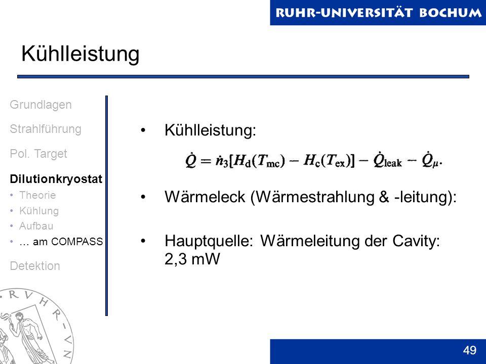 49 Kühlleistung Grundlagen Strahlführung Pol. Target Dilutionkryostat Theorie Kühlung Aufbau … am COMPASS Detektion Kühlleistung: Wärmeleck (Wärmestra