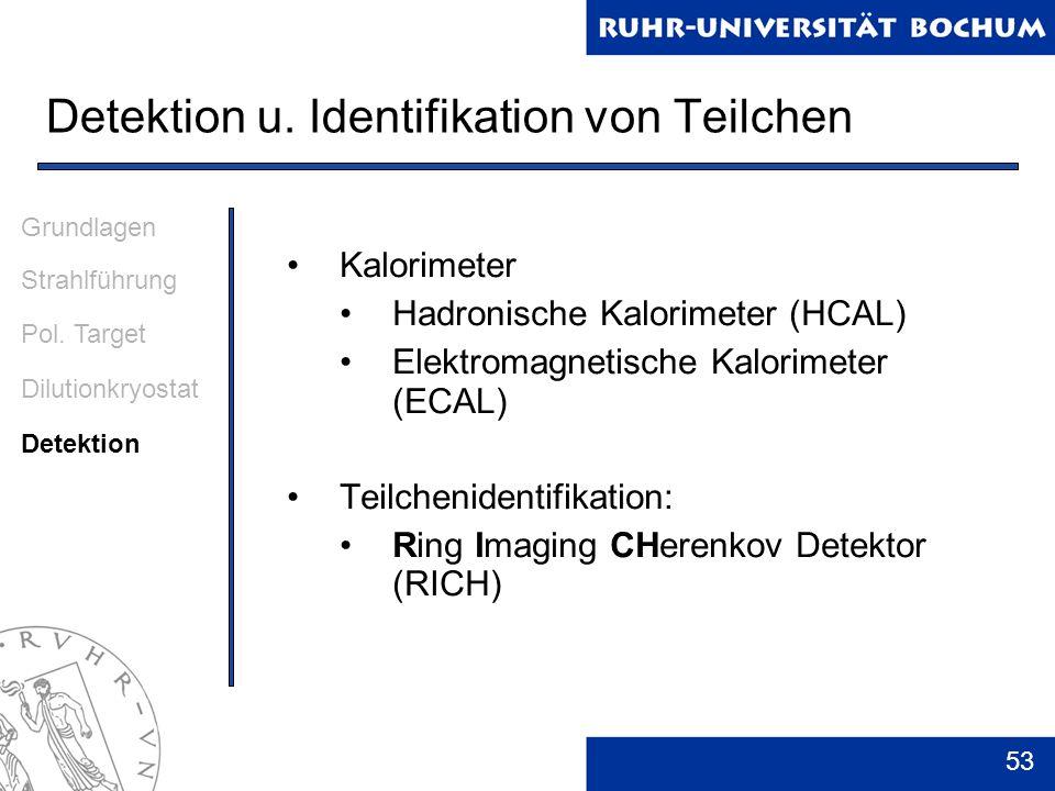 53 Detektion u. Identifikation von Teilchen Kalorimeter Hadronische Kalorimeter (HCAL) Elektromagnetische Kalorimeter (ECAL) Teilchenidentifikation: R