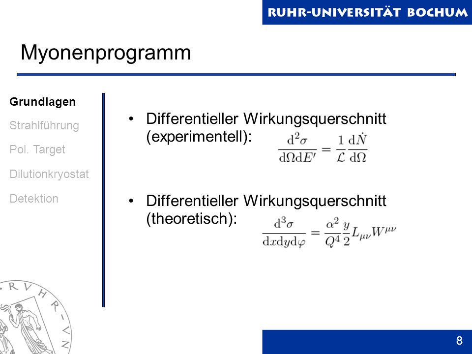 9 Myonenprogramm Leptonischer Tensor: Mit QED berechenbar Hadronischer Tensor: Parametrisierung durch F 1, F 2, g 1, g 2 Beide Tensoren sind Summen aus spinunabhängigem, symmetrischem und spinabhängigem, unsymmetrischem Teil Grundlagen Strahlführung Pol.