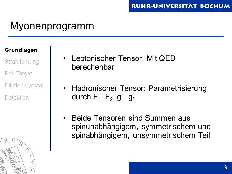 9 Myonenprogramm Leptonischer Tensor: Mit QED berechenbar Hadronischer Tensor: Parametrisierung durch F 1, F 2, g 1, g 2 Beide Tensoren sind Summen au