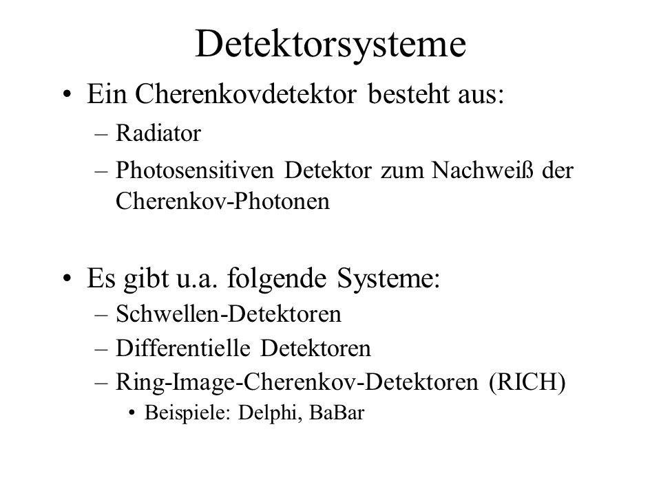 Detektorsysteme Ein Cherenkovdetektor besteht aus: –Radiator –Photosensitiven Detektor zum Nachweiß der Cherenkov-Photonen Es gibt u.a.
