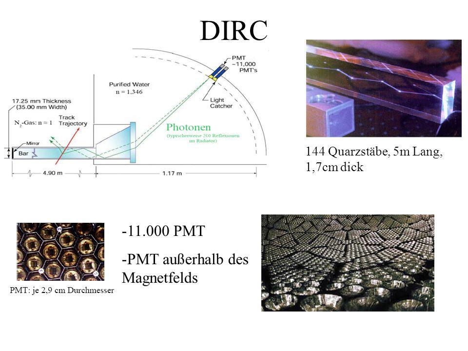 DIRC 144 Quarzstäbe, 5m Lang, 1,7cm dick -11.000 PMT -PMT außerhalb des Magnetfelds