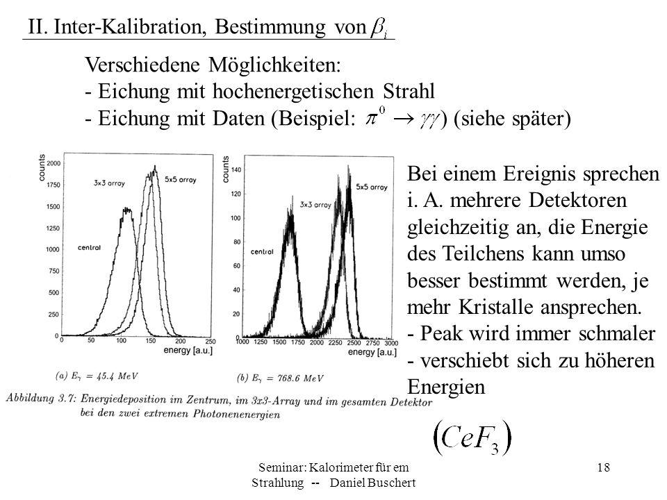 Seminar: Kalorimeter für em Strahlung -- Daniel Buschert 18 Bei einem Ereignis sprechen i. A. mehrere Detektoren gleichzeitig an, die Energie des Teil