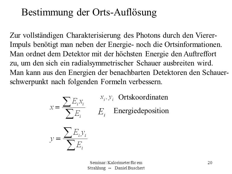 Seminar: Kalorimeter für em Strahlung -- Daniel Buschert 20 Bestimmung der Orts-Auflösung Zur vollständigen Charakterisierung des Photons durch den Vi