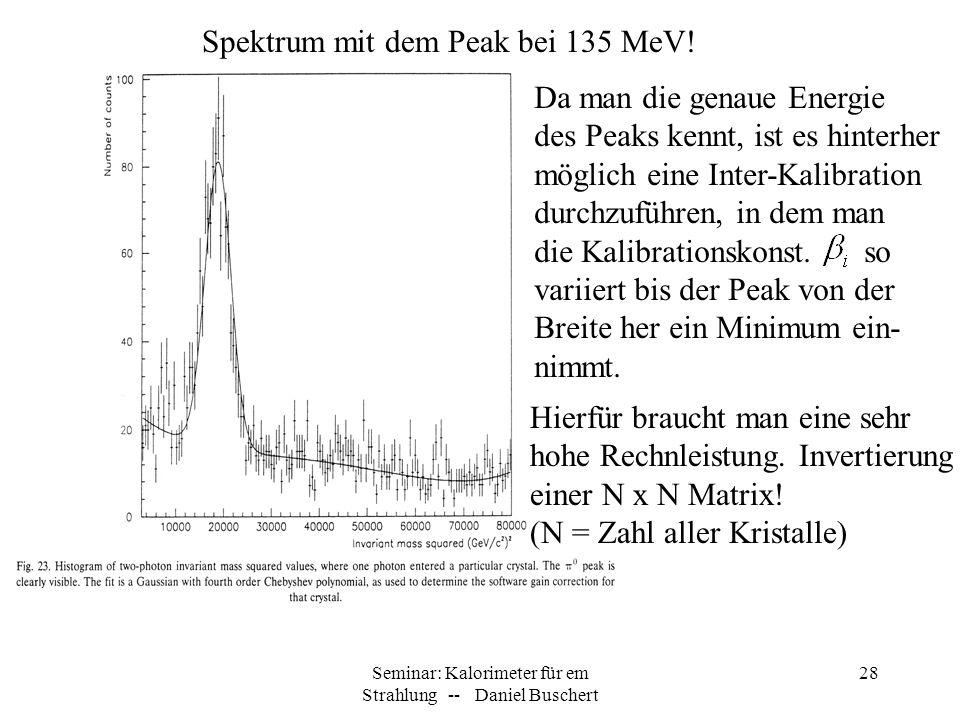 Seminar: Kalorimeter für em Strahlung -- Daniel Buschert 28 Spektrum mit dem Peak bei 135 MeV! Da man die genaue Energie des Peaks kennt, ist es hinte