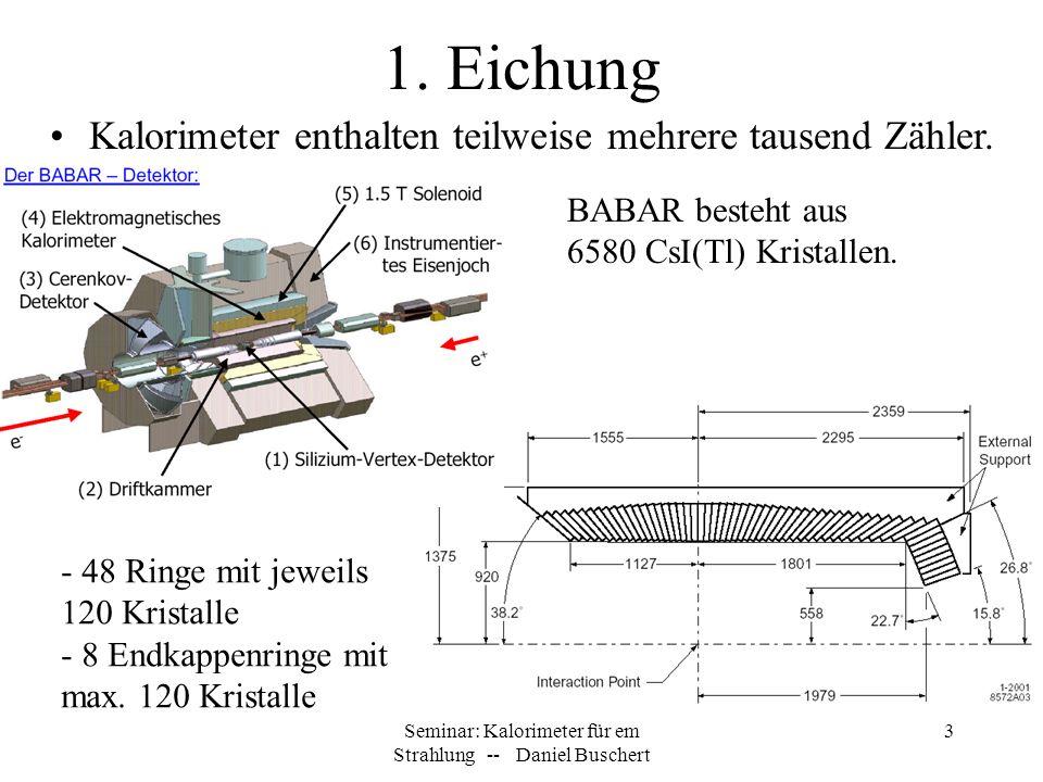 Seminar: Kalorimeter für em Strahlung -- Daniel Buschert 3 1. Eichung Kalorimeter enthalten teilweise mehrere tausend Zähler. BABAR besteht aus 6580 C