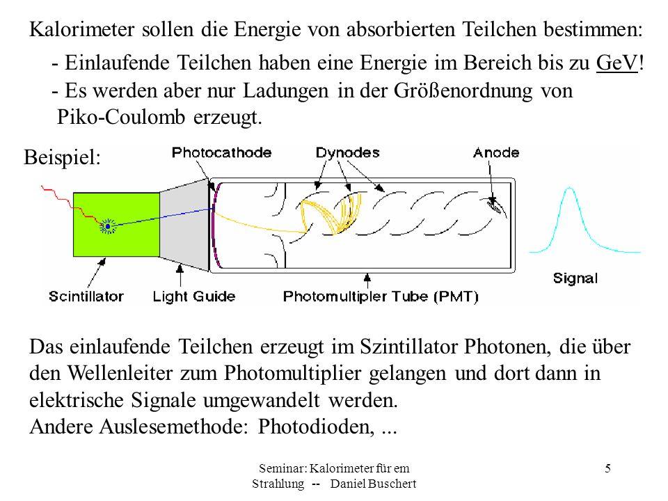 Seminar: Kalorimeter für em Strahlung -- Daniel Buschert 5 Kalorimeter sollen die Energie von absorbierten Teilchen bestimmen: - Einlaufende Teilchen