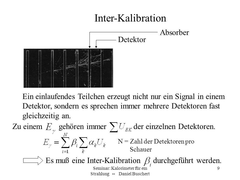 Seminar: Kalorimeter für em Strahlung -- Daniel Buschert 10 Die Kalibrierungskonstanten können experimentell bestimmt werden, indem man bekannte Energien oder Teilchen in eines der Segmente schießt, von denen man weiß, wie viel Energie sie dort deponieren.