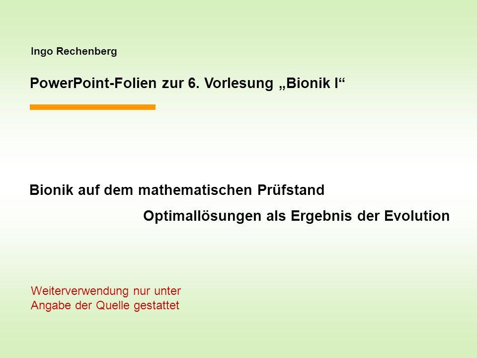Ingo Rechenberg PowerPoint-Folien zur 6. Vorlesung Bionik I Bionik auf dem mathematischen Prüfstand Optimallösungen als Ergebnis der Evolution Weiterv