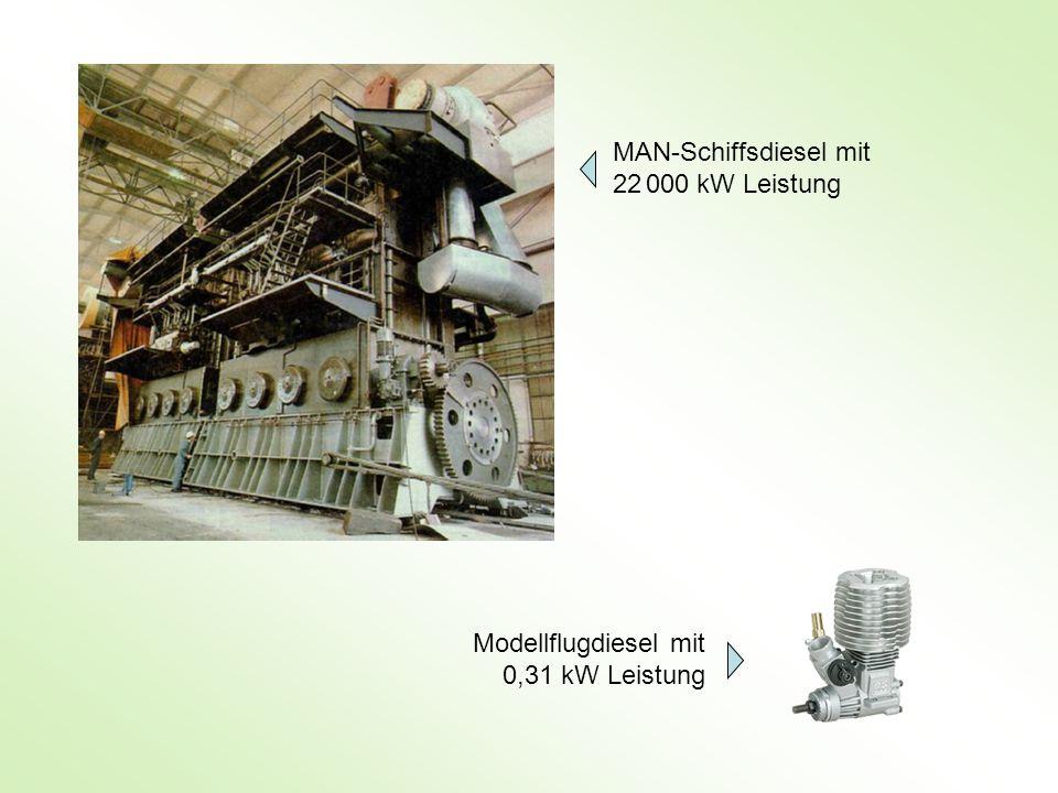 MAN-Schiffsdiesel mit 22 000 kW Leistung Modellflugdiesel mit 0,31 kW Leistung