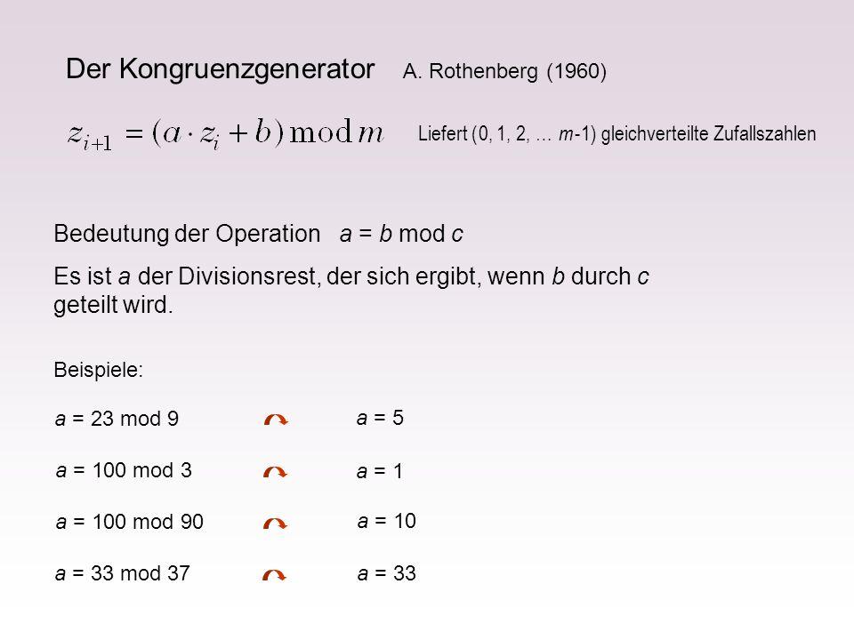 Bedeutung der Operation a = b mod c Es ist a der Divisionsrest, der sich ergibt, wenn b durch c geteilt wird. Beispiele: a = 23 mod 9 a = 5 a = 100 mo