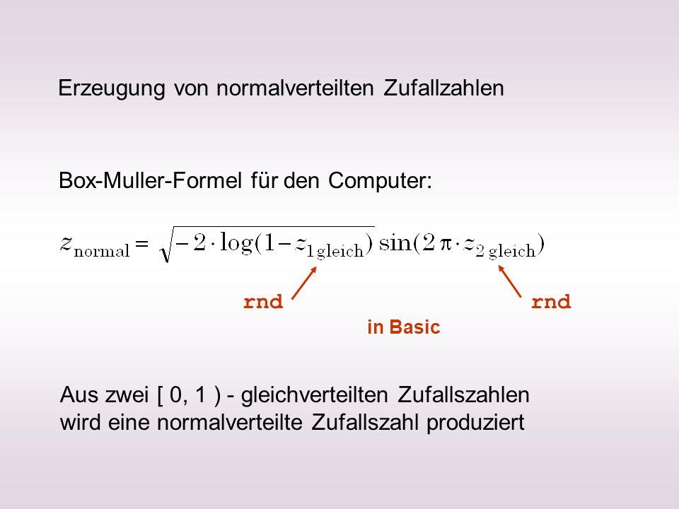 Erzeugung von normalverteilten Zufallzahlen Box-Muller-Formel für den Computer: Aus zwei [ 0, 1 ) - gleichverteilten Zufallszahlen wird eine normalver