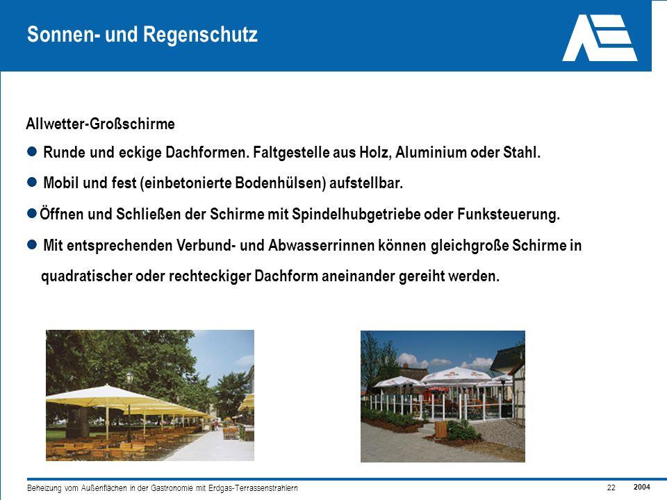 2004 22 Beheizung vom Außenflächen in der Gastronomie mit Erdgas-Terrassenstrahlern Sonnen- und Regenschutz Runde und eckige Dachformen.