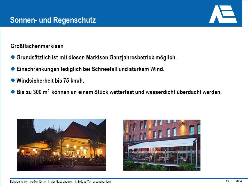 2004 23 Beheizung vom Außenflächen in der Gastronomie mit Erdgas-Terrassenstrahlern Sonnen- und Regenschutz Großflächenmarkisen Grundsätzlich ist mit diesen Markisen Ganzjahresbetrieb möglich.