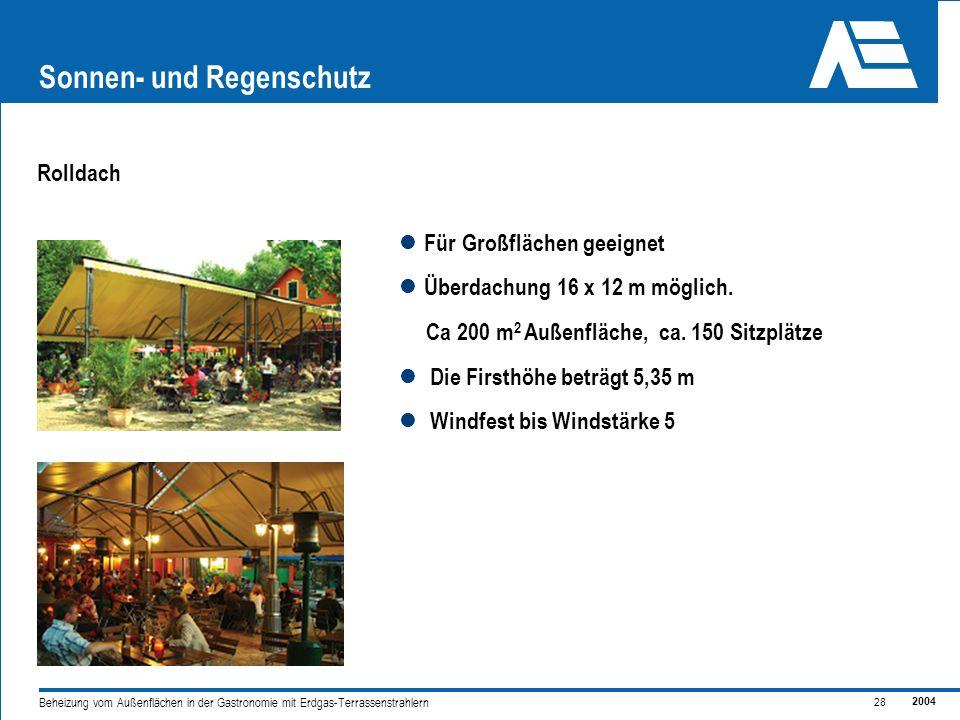 2004 28 Beheizung vom Außenflächen in der Gastronomie mit Erdgas-Terrassenstrahlern Sonnen- und Regenschutz Rolldach Für Großflächen geeignet Überdachung 16 x 12 m möglich.
